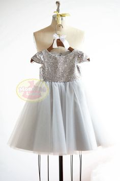 Cap Sleeves Silver Sequin Gray Tulle Dress —MonbebeLagos Monbebe Lagos