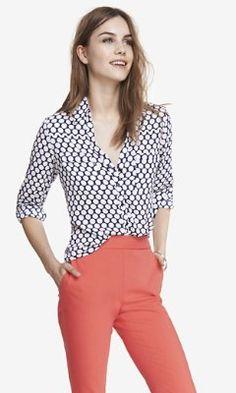 '50s dot convertible sleeve portofino shirt from EXPRESS
