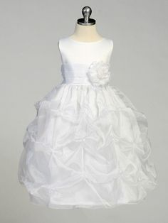 -------------Flower Girls-------------- White Flower Girl Dress - Matte Satin Bodice w/ Gathers. $47.99.