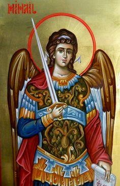 Archangel Michael by Elena Cerasela Ciuca Catholic Art, Religious Art, Roman Catholic, Angel Hierarchy, Byzantine Icons, Saint Michel, Archangel Michael, Art Icon, Angels And Demons