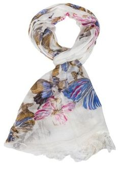 Women's Cream and Lilac Butterfly Patterned Fashion Scarf Belgolux. $11.99