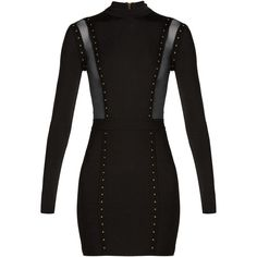 Balmain Mesh-insert studded body-con dress ($2,197) ❤ liked on Polyvore featuring dresses, mesh bodycon dress, stretch bodycon dress, high-neck dress, embellished dress and embellished cocktail dresses