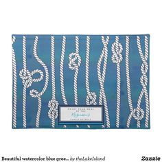 Beautiful watercolor blue green white knots custom cloth placemat