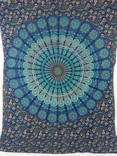 Blue Mandala Tapestry Hippie Tapestry Wall Hanging by ASHOKACRAFTS