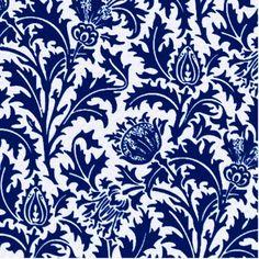 Shop William Morris Thistle Damask, Cobalt Blue & White Ceramic Tile created by Floridity. William Morris, Blue And White Wallpaper, Blue And White Fabric, Navy Wallpaper, Room Wallpaper, Fabric Wallpaper, White Fabrics, Thistle Flower, Blue Pottery