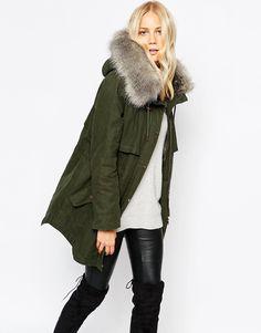 Parka London Lara Hooded Coat In Waxed Cotton