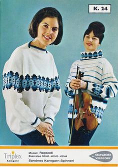 Rapsodi k 24 Norwegian Knitting, Jumpers, 1960s, Knitting Patterns, Graphic Sweatshirt, Retro, Sweatshirts, Sweaters, Jackets