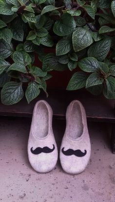 Mens slippers - felted wool slippers - Mustache