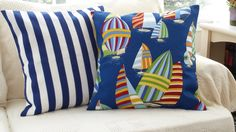Spinnakers 18 inch and Boating Stripes 18 inch by hmishke on Etsy Nautical Pillow Covers, Nautical Pillows, Sail Racing, Boating, Navy And White, Fabric Design, Yellow, Blue, Stripes