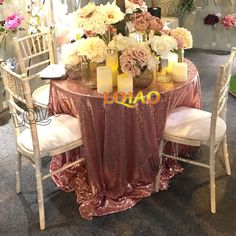 Big sale European Embroidered Rose Gold Sequin tablecloth 120 round table cover for wedding/Party Decoration elegant table cloth #Affiliate