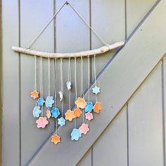 Handmade porcelain wallhanging with multi-coloured flowers - Ceramic mobile door YayasCeramics op Etsy Fine Porcelain, Porcelain Ceramics, Flower Mobile, Multi Colored Flowers, Handmade, Yorkshire, Etsy, China, Japan