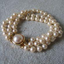 Vintage Triple Strand Hand Knotted Faux Pearl Bracelet