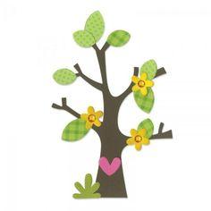 FUSTELLA SIZZIX BIGZ DIE - TREE W/FLOWER, HEART & - 18,00 EUR - Dimensione fustella: 13.97 cm x 15.24 cm  Fustella per tagliare feltro, pannolenci, carta, cartoncino,  lamina metallica, tessuto, mousse e altri materiali - 2-3 giorni lavorativi