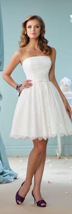 Enchanting by Mon Cheri Spring 2016 ~Style No. 116122 #shortlaceweddingdress
