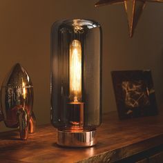 George Home Copper Effect And Glass Table Lamp