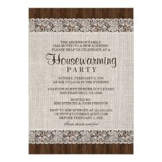 Shop Rustic Burlap Lace Housewarming Party Invitation created by Personalize it with photos & text or purchase as is! Western Wedding Invitations, Rustic Bridal Shower Invitations, Engagement Party Invitations, Bridal Shower Rustic, Housewarming Party Invitations, Rehearsal Dinner Invitations, Wedding Rehearsal, Burlap Lace, Wedding Announcements