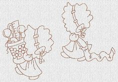 INSTANT DOWNLOAD Sunbonnets Sewing Redwork by embroiderygirl