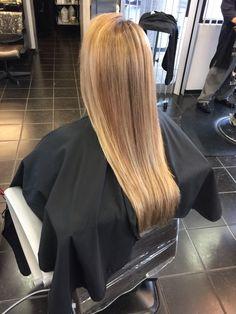 Light brown to blonde Balayage highlights long hair