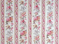 antique french floral cotton fabric