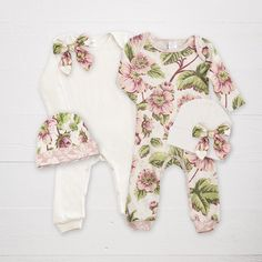 Love the floral romper, but would opt for a headband vs. Hat! wborn Girl Take Home Outfit Baby Girl Romper and by TesaBabe