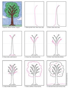 How to draw a Tree. PDF tutorial available. #artprojectsforkids