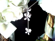 Dangling Triple Orchids Flowers Necklace 3  by LaLaCrystal on Etsy, $25.50