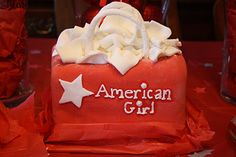 a cute an easy cake for an American Girl party....a shopping bag!!