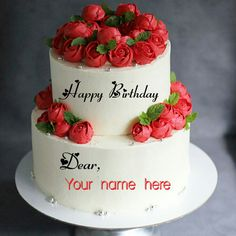Double Layer Red Rose Flower Birthday Cake With Name Happy Birthday Cake Pictures, Colorful Birthday Cake, Creative Birthday Cakes, Special Birthday Cakes, Beautiful Birthday Cakes, Birthday Cake With Flowers, Flower Birthday, Birthday Images, Birthday Quotes