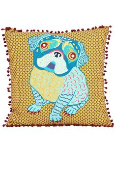 """Pom-pom edged embroidered pillow with a dog on the front.  Measures: 20"""" x 20""""  Pug Pillow by Karma Living. Home & Gifts - Home Decor - Pillows & Throws Maryland"""