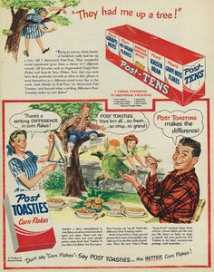 Vintage illustrated 1940s ad, Post-Tens Cereal Pak and Post Toasties Corn Flakes, Look magazine, July 19, 1949 | Photo credit: Vicki McClure Davidson, Flickr, Creative Commons, some rights reserved