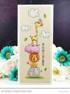 Handmade card from Amy Yang featuring Safari Friends stamp set from My Favorite Things Handmade Birthday Cards, Happy Birthday Cards, Handmade Cards For Friends, Diy Birthday, Baby Cards, Kids Cards, Birthday Card Drawing, Art Drawings For Kids, Mft Stamps