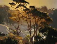 Sunset Over Blue Fish Cove Pt Lobos by Brian Blood Oil ~ 14 x 18