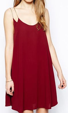 Red Chain Spaghetti Strap Loose Dress