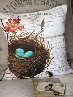 Pillow Coverthe French Nest cotton throw pillow by JolieMarche,