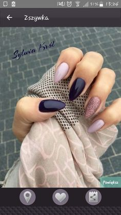 Stiletto nails pink blue glitter