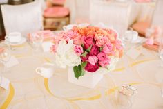 #bridal-shower, #peach, #centerpiece, #rose, #pink  Photography: Briana Marie Photography - brianamariephotography.com/  Read More: http://www.stylemepretty.com/living/2013/07/05/a-bridal-brunch-from-briana-marie/