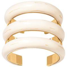 AURELIE BIDERMANN 'Caftan moon' cuff (3.365 BRL) ❤ liked on Polyvore featuring jewelry, bracelets, accessories, yellow gold jewelry, white jewelry, 18k gold jewellery, 18k jewelry and gold jewellery