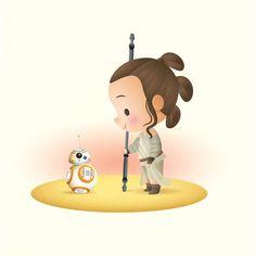 Little Rey designed by Jerrod Maruyama. Connect with them on Dribbble; Disney Love, Disney Art, Ghibli, Pixar, Leia Star Wars, Cute Disney Drawings, Tsumtsum, Star Wars Love, Cute Stars