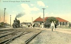 Postcard featuring The Central of Georgia depot at Tybee Island, ca. 1910.