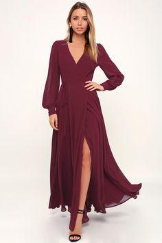 e6ff53b7c14ca Lulus | My Whole Heart Burgundy Long Sleeve Wrap Dress | Size Small | 100%  Polyester