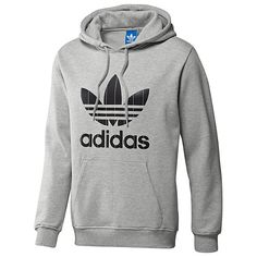 Men's adidas Originals Adi Pinstripe Trefoil Hoodie (Color – Grey Size – S)