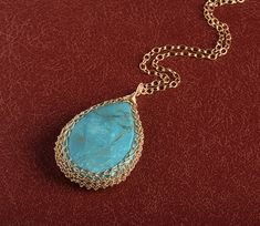 Turquoise Tear Drop Pendant necklace crochet #jewelry #necklace @EtsyMktgTool http://etsy.me/2i7IYSZ