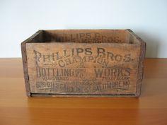Vintage Wood Storage Crate - Industrial Decor. $189.00, via Etsy.