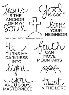 Technique Tuesday - Clear Acrylic Stamps - God Is Good: Add inspiration to your pages, cards, tags and Bible journaling projects with the God Is Good Clear Acrylic Stamp Set by Technique Tuesday! The package contains nine stamps that Bible Verses Quotes, Faith Quotes, Encouragement Quotes, Bible Study Journal, Bible Journaling For Beginners, Bible Bullet Journaling, Scripture Journal, Prayer Journals, Bible Doodling