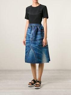 Junya Watanabe Comme Des Garçons printed denim skirt