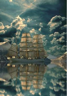 Phenomenal Reflection Pictures on Water Sail Away---- Cool Pictures, Cool Photos, Beautiful Pictures, Nature Pictures, Tall Ships, Images Cools, Beautiful World, Beautiful Places, Stunningly Beautiful