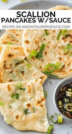 Scallion Pancakes with Dipping Sauce aka Cong You Bing (Video) Scallion Pancakes are crispy on the outside, soft and chewy on the inside! They are also known as Cong You Bing and pair perfectly with our Chinese scallion pancake sauce. Asian Recipes, New Recipes, Vegetarian Recipes, Cooking Recipes, Favorite Recipes, Healthy Recipes, Ethnic Recipes, Crepe Recipes, Scallion Pancakes Chinese