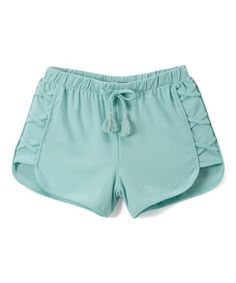 Loving this Aqua Lace-Up Dolphin Shorts - Girls on #zulily! #zulilyfinds