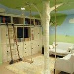 Forest theme. If you've already got a swing, it could hang from a 'tree'. Flower/tree wall decals, cute forest animal pillows/stuffies/art, green painted leaves on the ceiling could work with this theme. Via interiorholic.