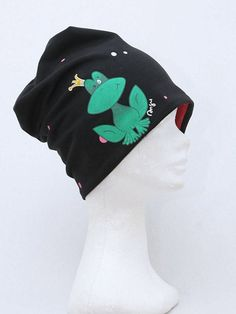 Jersey beanie with hand painted frog design & polka by AnsuDesign
